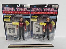 STAR TREK SPACE TALK SERIES FIGURES (2) BOTH ARE IN ORIGINAL PACKAGING, Q, & CAPTAIN JEAN-LUC PICARD FIGURES