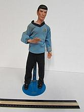1988 PORCELAIN DR. SPOCK DOLL COMES ON STAND, GOOD CONDITION, CERAMIC HEAD AND HANDS, MYD MARIAN YU DESIGNS, IN STAR TREK UNIFORM, METAL ENERPRISES