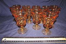 AMBER GLASS WINE STEMS (14)