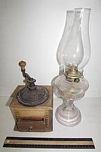 VINTAGE COFFEE GRINDER AND OIL LAMP