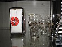 COCA-COLA NAPKIN DISPENSER & (4) GLASSES