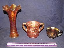 CARNIVAL GLASS VASE, CUP, & SPOONER