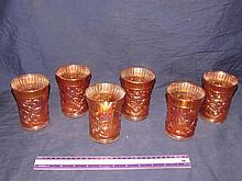 CARNIVAL GLASS TUMBLERS (6)