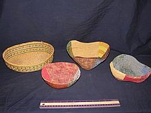 (3) HAND WOVEN BASKET PLUS ONE OTHER BASKET