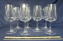LUMINARC CLEAR GLASS WINE STEMS (7) SOME WITH PAPER LABEL, ALL IN GOOD CONDITION 7 3/4