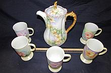 HAND PAINTED PORCELAIN COFFEE SET FLORAL DESIGN COFFEE MUGS ARE 5