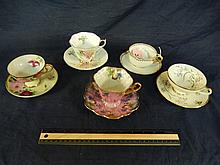 PORCELAIN CUPS AND SAUCERS (5) HANDPAINTED WITH VARIOUS MARKS, JAPAN, ENGLAND, & BAVARIA