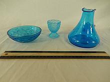 BLUE GLASS DECORATIVE DISHWARE (3) DEPRESSION GLASSWARE, BOTTLE IS 5' TALL, EGG HOLDER, & BOWL