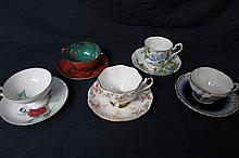 PORCLAIN CUPS AND SAUCERS (5 SETS) HAND PAINTED FLORAL CUPS AND SAUCERS, MARKED ENGLAND, BAVARIA, & JAPAN