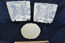 DECORATIVE SERVING PLATES (3) TWO BLUE TOILE, MADE IN CHINA, 9
