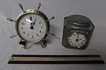 2 DESK CLOCKS ONE IS ROGER LASCELLES CLOCKS OF LONDON & ONE IS A QUARTZ BOAT THEME