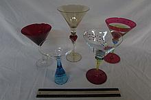 ART GLASS MARTINI STEMWARE (5) TALLEST ONE IS 10'