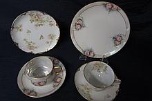 HANDPAINTED CHINA (6) 2 DESSERT SETS, ONE SET MARKED HAVILAND FRANCE, THE OTHER UNMARKED,ALL IN GOOD CONDITION.