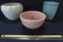 POTTERY BOWLS (3) ONE MARKED USA, ONE MCCOY, AND ONE IS USA POTTERY, ALL IN GOOD CONDITION, TALLEST ONE IS 5 1/2' TALL