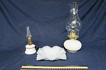 MILK GLASS ASSORTMENT (3) ONE 7