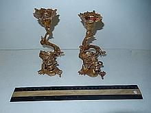 GOLD METAL DRAGON CANDLE HOLDERS 6