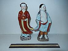 CHINESE PORCELAIN MAN AND WOMEN FIGURINES NOT MARKED, MAN IS 10