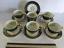 HOMER LAUGHLIN NAUTILUS CUPS AND SAUCERS (6) GREAT CONDITION, YELLOW ROSE WITH GREENBAND & GOLD GILT TRIM