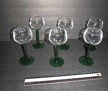 GREEN AND CLEAR GLASS WINE STEMS (6) 6 1/2