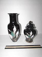 MODERN BLACK PORCELAIN JAR AND VASE MATCHING FLORAL DESIGN, JAR IS 8