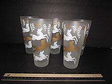 SATIN GLASS TUMBLERS (5) HORSE MOTIF, 6 1/2
