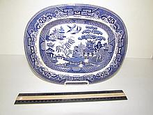 STAFFORDSHIRE ENGLAND BLUE AND WHITE PLATTER 11