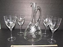 ETCHED GLASS DECANTER AND WINESTEMS CLEAR GLASS WITH FLORAL ETCHING DECANTER 11 1/2