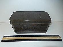 HEAVY METAL DIVIDER BOX UNDER THE TOP LID IT HAS 3 LIDDED COMPARTMENTS, 7 1/2