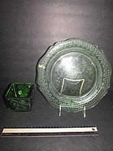 GREEN DEPRESSION GLASS DISHES 11