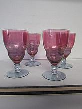 FLASHED GLASS STEMWARE (4) BLUE GLASS BASE WITH PINK FLASH TOPS.  ALL IN GOOD CONDITION, 7