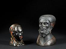 Two Figural Head Ink Stands