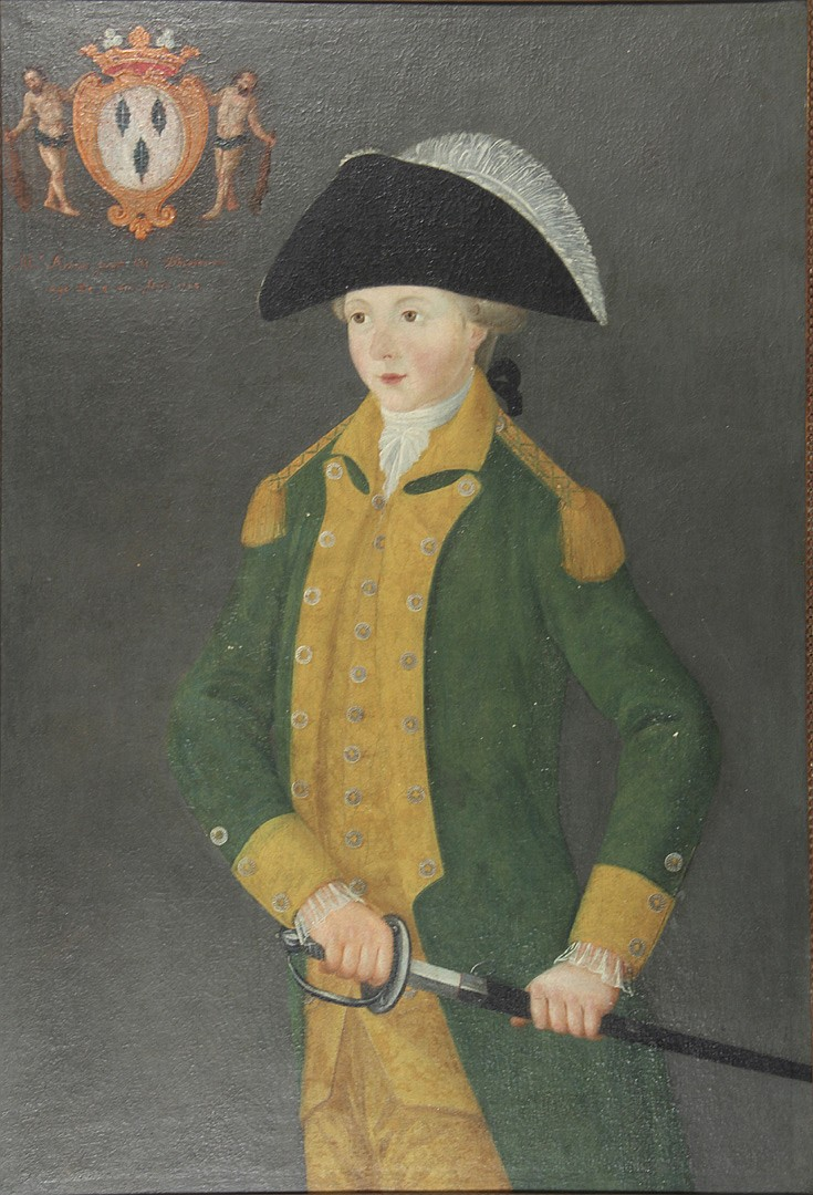 Portrait Of A Boy, noted at the upper left, a coat of arms,