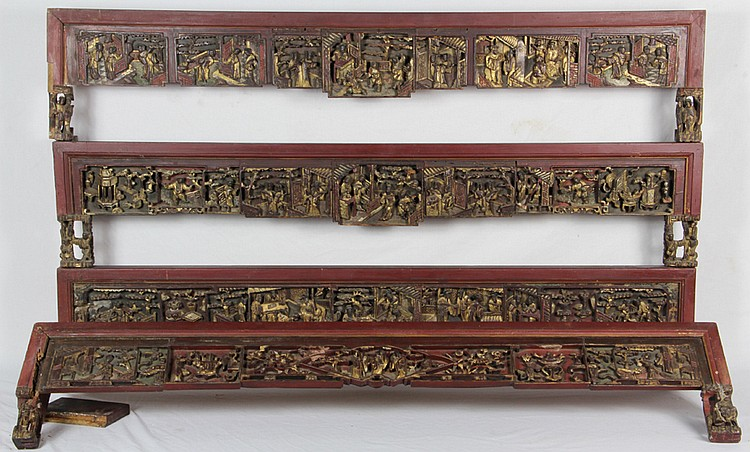 Set of Four Carved Chinese Valences