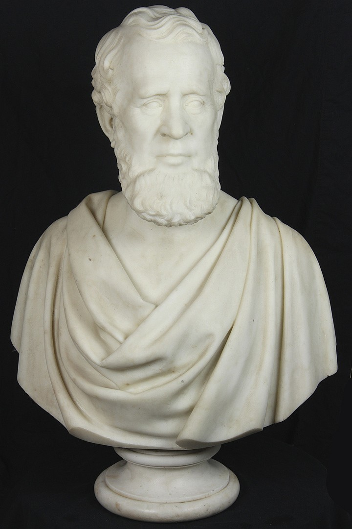 Preston Powers,  marble bust of a gentleman
