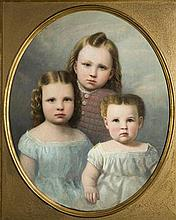 Anson Daniels, oil on canvas portrait of a three children,