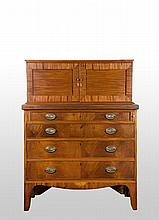 Hepplewhite Mahogany Secretary, made in 2-parts.