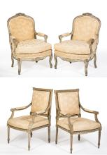 Two Pair of French Style Armchairs
