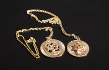 Two 14kt. Yellow Gold Pendants with Chains