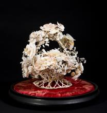 Victorian Sea Shell Basket of Flowers