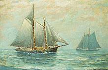 James J. McAuliffe, Mass. (1848 - 1926)- oil on canvas painting