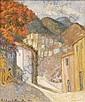 Hildegarde Hamilton oil on canvas village scene, Hildegarde Hamilton, Click for value