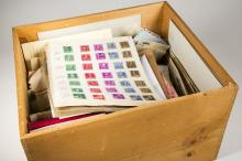 Large Lot of Covers, Foreign Stamp, stock books, etc, wooden box filled with 200+ covers