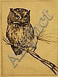 Henry Emerson Tuttle, 1890-1946, MA/CT, original dry-point etching of a screech owl, Henry Emerson Tuttle, Click for value