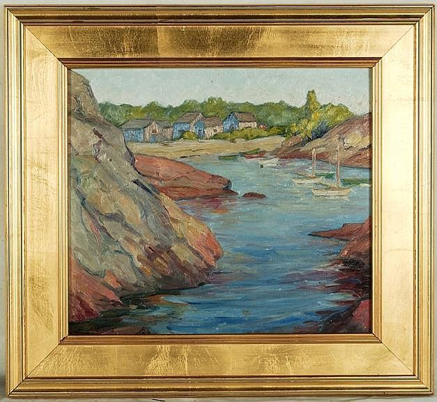 Arthur S. Allis O/B Cove with Sailboats