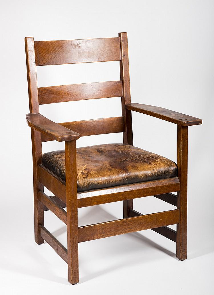 L j g stickley oak arm chair