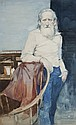 Burton Philip Silverman watercolor portrait of an old man.