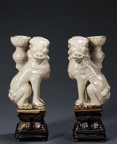 Pair of Chinese Celadon Foo Dog (Joss) Incense Holders