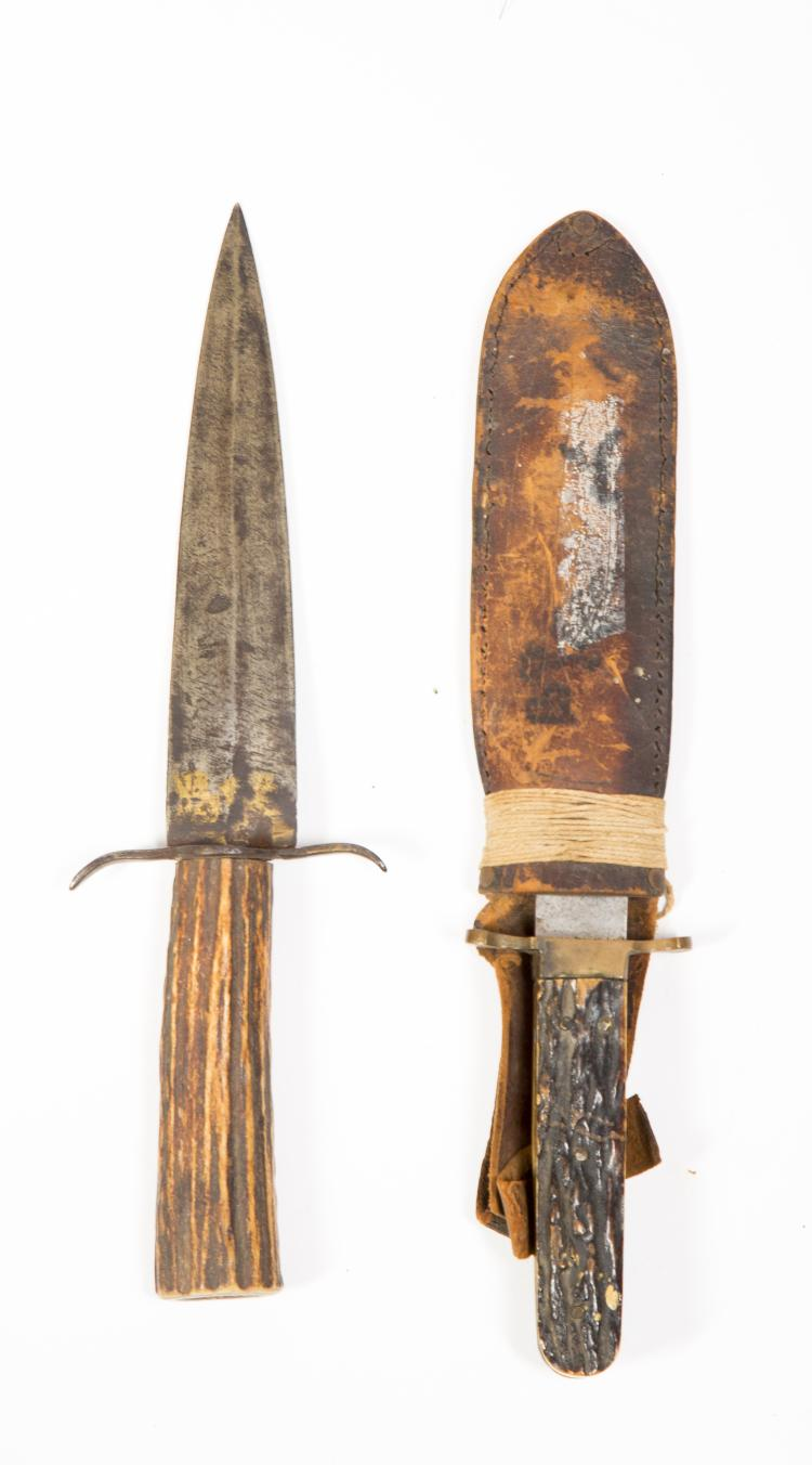 Two Stag Antler Spear Point Bowie Knives