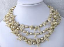 Vintage 4 strain necklace with mother of pearl & faux pearl beads