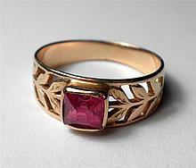 Old Russian 14K gold ring with Ruby